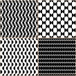 Black And White Set Of Abstract Patterns — Stock Vector