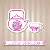 Motivation List Design With Flower Tea — Stock Vector