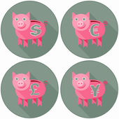 Icon Set With Pink Piggy Banks — Stock Vector
