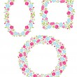 Set Of Three Floral Wreaths — Stock Vector