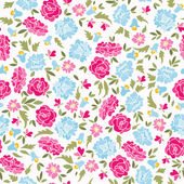Pattern With Roses And Bluebells — Stock Vector