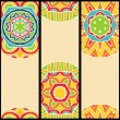 Bright Ethnic Patterns at Set of Cards — Stock Vector
