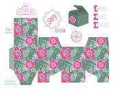 Poppies desenli yazdırılabilir hediye kutusu — Stok Vektör