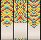 Ljusa geometriska mönster på kort — Stockvektor