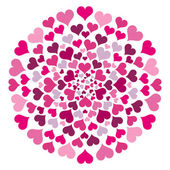 Round Pattern With Hearts — Stock Vector