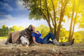 Woman with a horse — Stock Photo