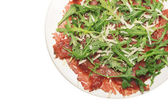 Beef carpaccio on withe background, isolated — Stock Photo