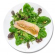 Green salad with spinach and light green leaves with smoked trout and onion dressings on a white plate, isolated — Stock Photo #40509087
