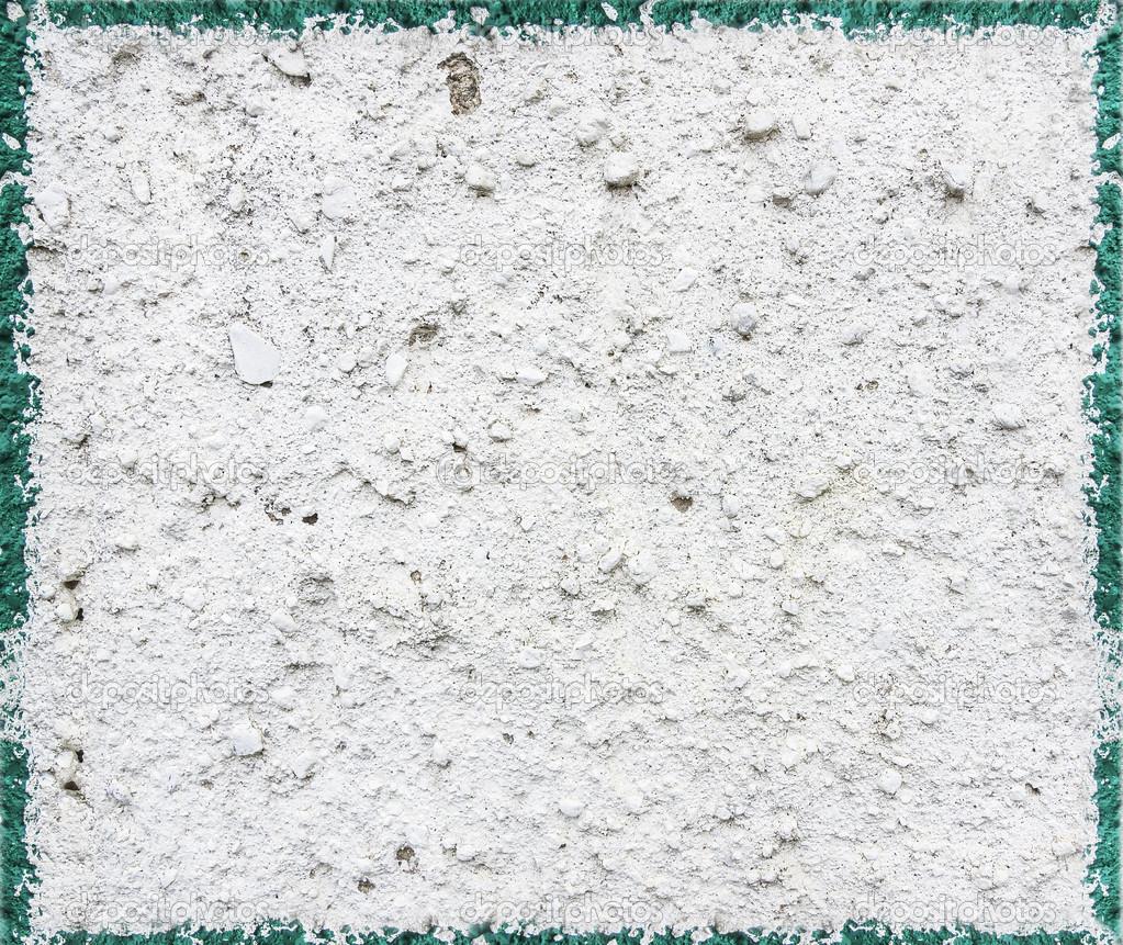 텍스처 콘크리트 벽, 청록색 테두리 흰색 페인트와 페인트 ...