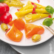 Stock Photo: Antipasti vegetables , peppers with cream cheese