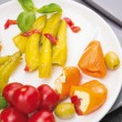 Stock Photo: Colorful Antipasti vegetables , peppers with cream cheese , hot peppers , olives