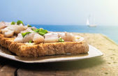 Toast with salted herring and onion in metal tray, on wooden table, against blue sea and blue sky — Stock Photo
