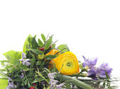 Green bouquet with yellow buttercups and lilac freesias , floral border,isolated — Foto Stock