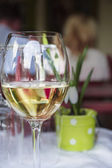 Glass of white wine on table in restaurant on background of spring scenery — Stock Photo