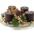 Christmas decoration with candles, pine cones, spruce branches — Stock Photo #33638737