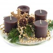 Christmas decoration with candles, pine cones, spruce branches — Stock Photo