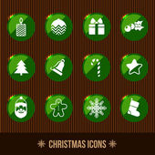 Christmas icons green — Stock Vector