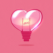Vector heart bulb on valentines day — Stock Vector