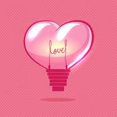 Vector heart bulb on valentines day — Stock Vector