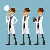Cute cartoon doctor with glasses, in various poses — Vector de stock
