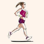 Handdrawn sketch of running woman — Stock Vector