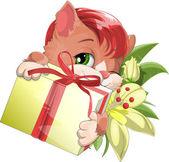 Kitten and gift — Stock Vector