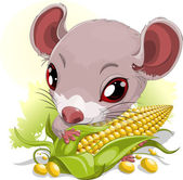 Mouse with corn — Stock Vector