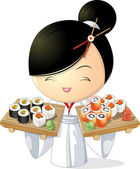 Sushi girl — Stock Vector