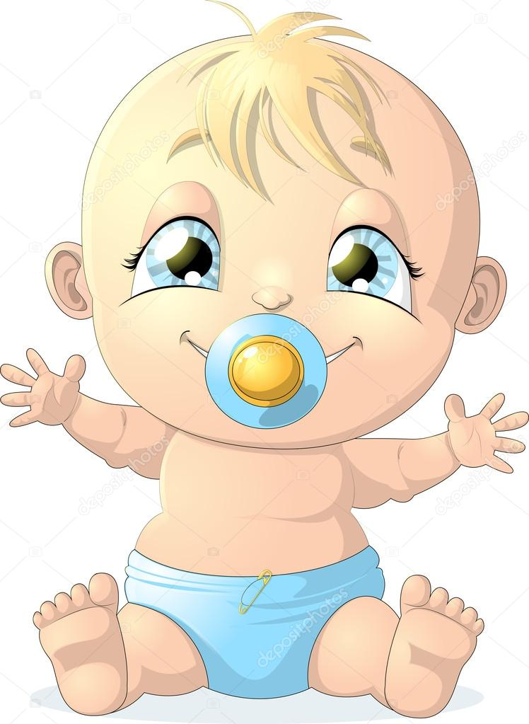 Baby Diaper Illustration Beautiful Baby in Diaper on