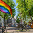 Rainbow flag on the street in Amsterdam — Stock Photo