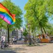 Rainbow flag on the street in Amsterdam — Stock Photo