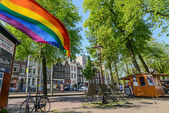 Rainbow flag on the street in Amsterdam — Стоковое фото
