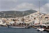 View of Ermuopolis harbor — Stock Photo