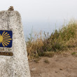 Milestone at Finisterre the end of the Way — Stock Photo