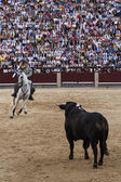 Rejoneo at Las Ventas arena in Madrid. Rejoneador: Sergio Galan — Stock Photo