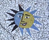 Ceramic mosaic of sun — Stock Photo