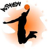 Abbildung eines basketball-spielers mit ball — Stockvektor