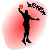 ボールとバスケット ボール選手のイラスト — ストックベクタ