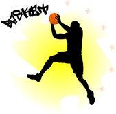 Illustratie van een basketbal-speler met bal — Stockvector