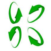 Sada 3d zelená šipka — Stock vektor