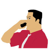 Businessman calling on phone — Stock Vector