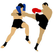 Two boxers fighting with high kick — Stock Vector