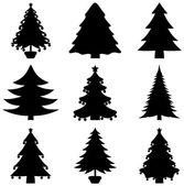 A series of decorative fir shadow — Stock Vector