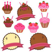 A collection of pastry cake — Stock Vector