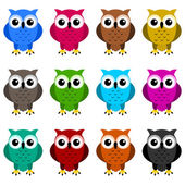 Owls colors — Stock Vector