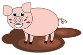 A pig in mud — Stock Vector
