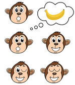 A monkey with several poses — Stok Vektör