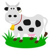 A dairy cow in a pasture — Stock Vector