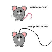 A wired mouse and mini mouse — Cтоковый вектор