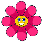 A smiling pink flower — Stock Vector